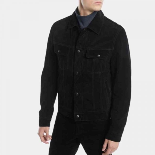 Black Suede Trucker Jacket