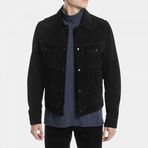 Black Suede Trucker Jacket Mens