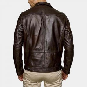 Genuine Brown Leather Jacket Mens