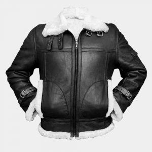 Mens Black Leather Jacket With White Fur Collar