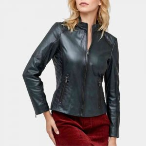 Women Dark Green Leather Jacket