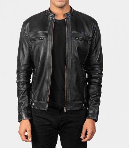 Black Cafe Racer Leather Jacket