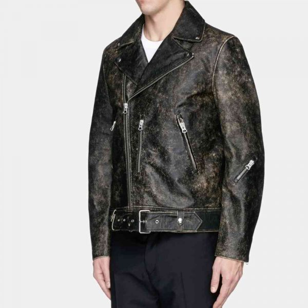 Black Distressed Leather Motorcycle Jacket