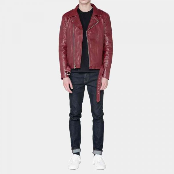 Burgundy Leather Motorcycle Jacket Mens