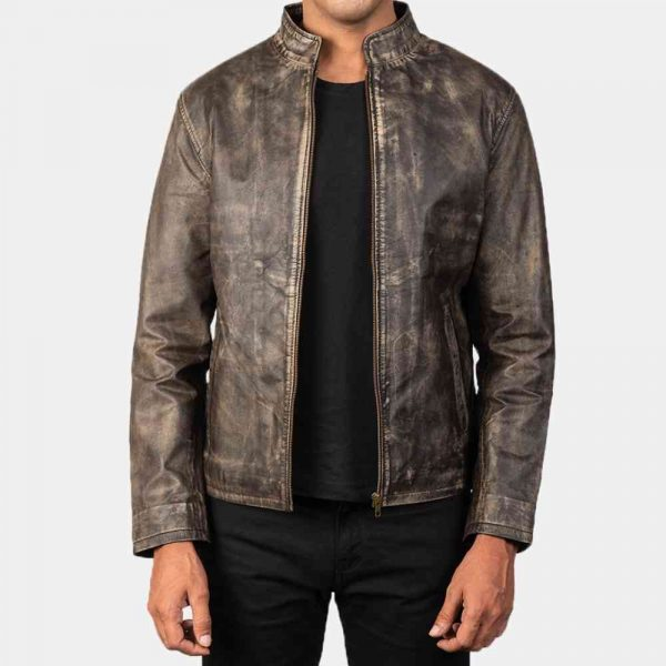 Distressed Brown Leather Biker Jacket