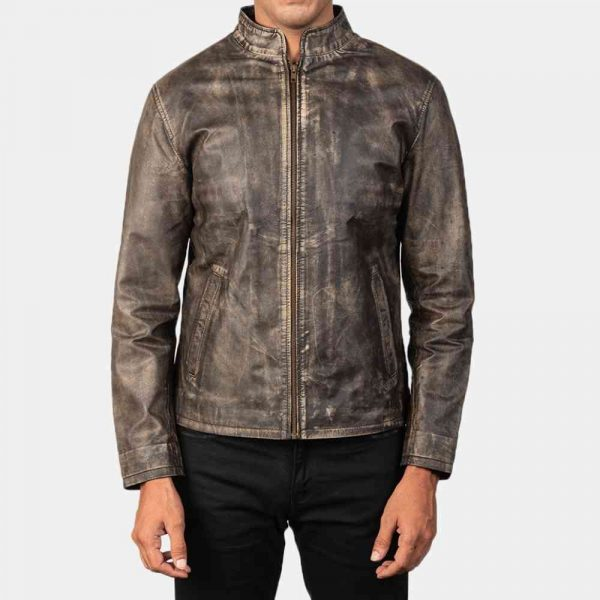 Distressed Brown Leather Motorcycle Jacket USA