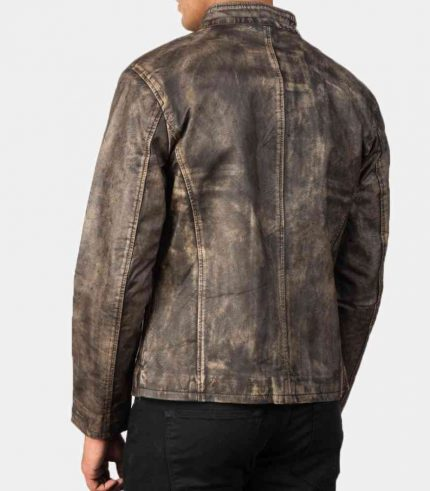 Distressed Brown Leather Motorcycle Jacket in USA