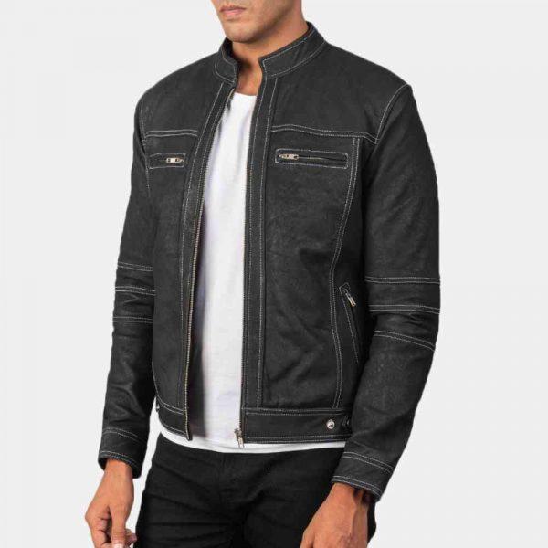Distressed Leather Biker Jacket