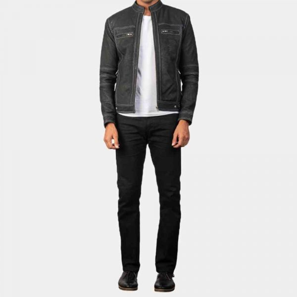 Distressed Leather Biker Jacket Mens