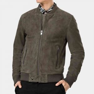 Grey Suede Biker Jacket Mens