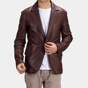 Maroon Leather Blazer in usa