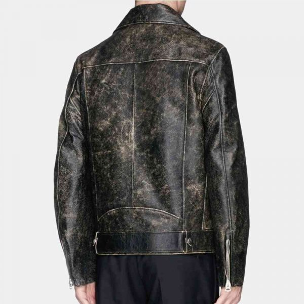 Mens Black Distressed Leather Jacket