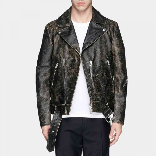Mens Black Distressed Leather Motorcycle Jacket
