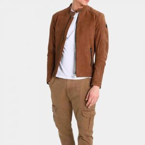 Mens Brown Suede Motorcycle Jacket