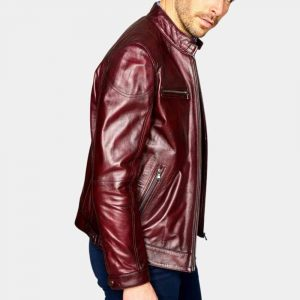 Mens Burgundy Leather Biker Jacket