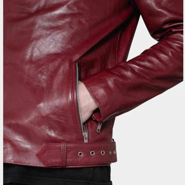 Mens Burgundy Leather Jacket