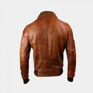 Mens Leather Bomber Jacket Fur Collar