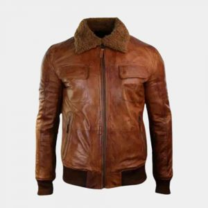 Mens Leather Bomber Jacket With Fur Collar