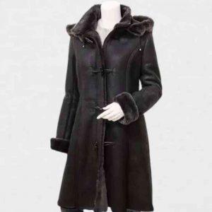 Womens Black Duffle Coat With Fur Hood