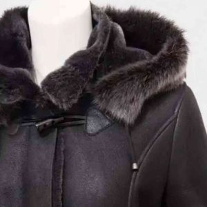 Womens Black Duffle Coat With Hood IN USA