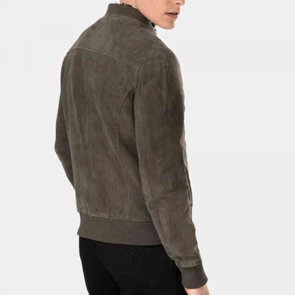 mens grey suede biker jacket