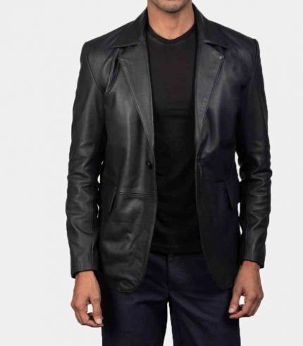 Black Leather Blazer Jacket Mens