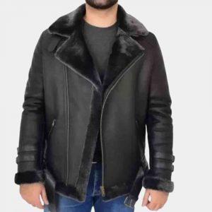 Black Leather Shearling Jacket Mens