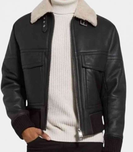 Mens Black Leather Bomber Jacket with Fur Collar