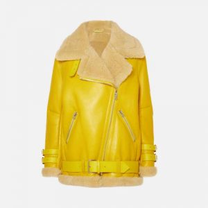 Yellow Leather Jacket with Fur Collar