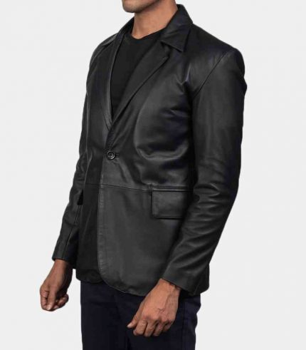 mens black leather blazer jacket
