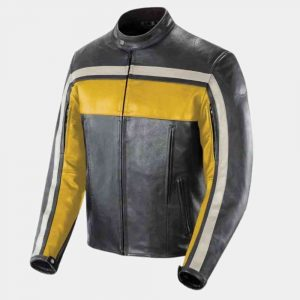 Black Yellow and White Leather Jacket