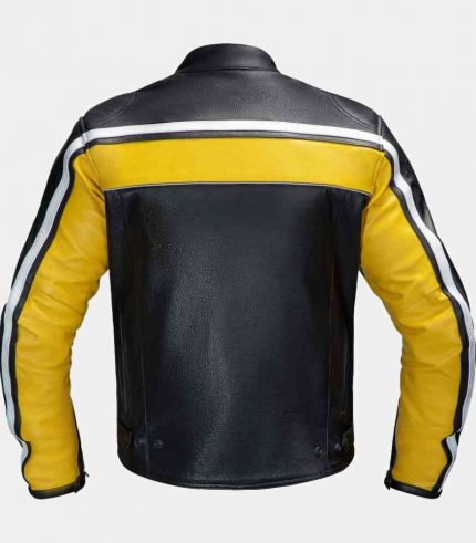 Black and Yellow Leather Motorcycle Jacket