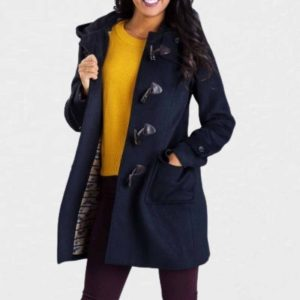 Blue duffle coat with hood
