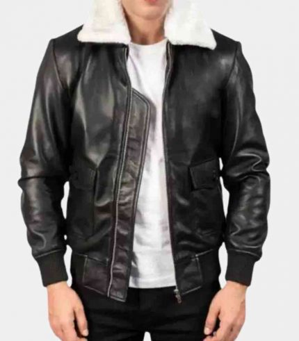Mens Leather Bomber Jacket with Wool Collar