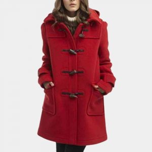 Womens Red Duffle Coat with Hood
