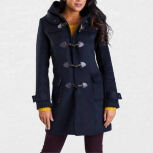 ladies navy duffle coat with hood