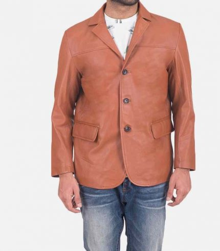 3 button leather blazer