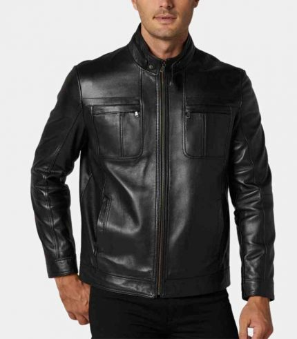 Biker Black Leather Jacket Mens