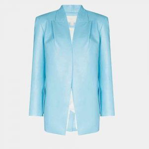 Blue Leather Blazer Womens