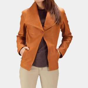 Tan Leather Blazer Womens