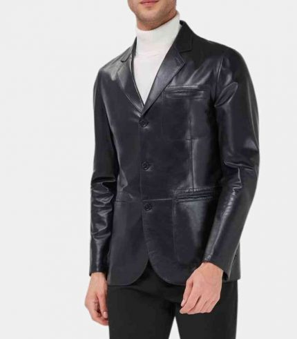 Black Lambskin Leather Blazer