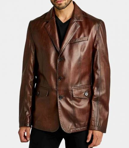 Mens Leather 3 Button Blazer