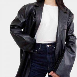 black leather oversized blazer