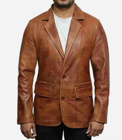 brown leather blazer for men
