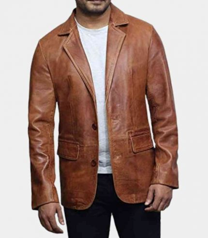 brown leather blazer for men usa
