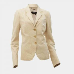 cream leather blazer