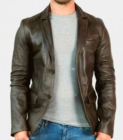 distressed brown leather blazer