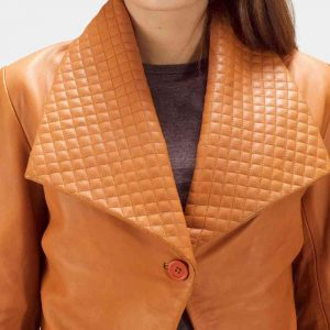 ladies tan leather blazer