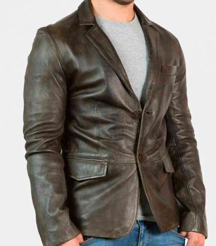 mens distressed leather blazer