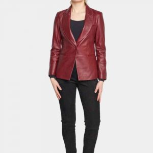 womens red leather blazer